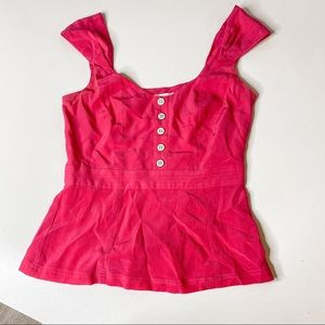 Walter hot pink silk tank top peplum size 2